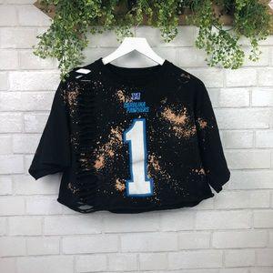 NFL Tops - NFL Carolina Panthers Cam Newton Custom Crop Top